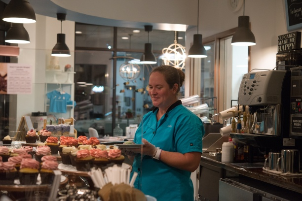 Amy the Owner of Amy's Cupcake Shoppe! She's super nice and helpful! You can tell she really loves what she does!